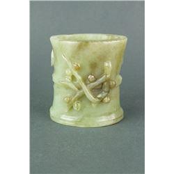Chinese Nephrite Jade Brushpot Crane & Lotus