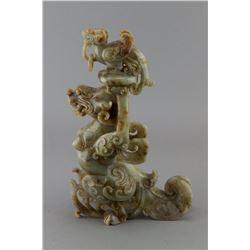 Chinese Green Jade Carved Dragon Vase Qianlong Mk