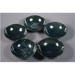 Set of 5 Fine Chinese Spinach Green Jade Bowls