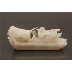 Very Fine Chinese Hetian White Jade Carved Boat
