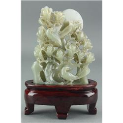 Chinese Celadon Jade Carved Flowers w Birds