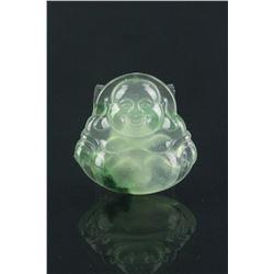 Chinese Green Jadeite Laughing Buddha Pendant