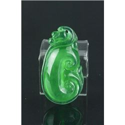 Chinese Emerald Green Jadeite Ruyi Pendant