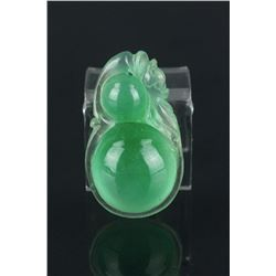 Chinese Green Jadeite Double Gourd Pendant