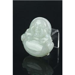 Chinese White Jadeite Carved Buddha w/Cert