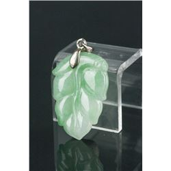 Chinese Green Jadeite Leaf Pendant w/Cert