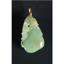 Chinese Apple Green Jadeite Peach Chi Long Pendent