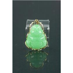 Green Jadeite Buddha Pendant w/14K Gold Frame