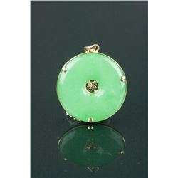 Chinese Green Jadeite Pendant w/14K Gold Frame