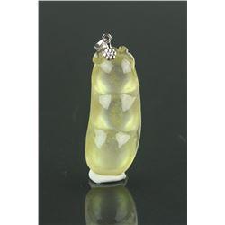 Chinese Yellow Jadeite Bean Pendant 18K White Gold