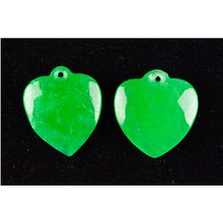 Pair of Emerald Green Jadeite Heart Shape Pendants