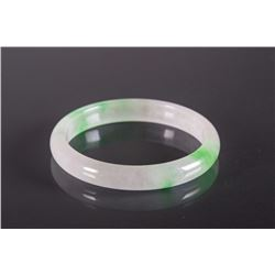 Chinese Apple Green and Translucent Jadeite Bangle