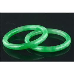 Pair of Chinese Apple Green Jadeite Bangles