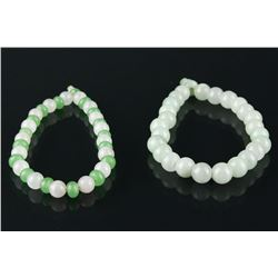 2 Pc Jadeite and Hardstone Bead Bracelets