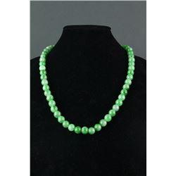 Jadeite Bead Necklace Polished Round Beads