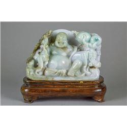 Chinese Green Jadeite Carved Buddha