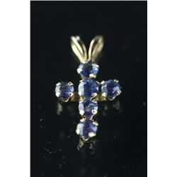 10kt Gold Sapphire 'Cross' Pendant Retail $190
