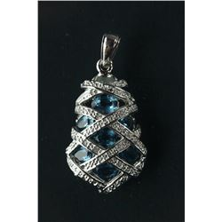 Sterling Silver Blue Topaz Pendant Appraised $661