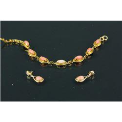 3Pc of 14k Gold w/ Pink Coral Bracelet & Earrings