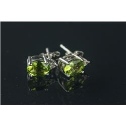 Sterling Silver Peridot Diamond Earrings CRV $588