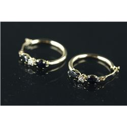 9kt Gold Sapphire&Diamond Hoop Earring CRV $1009