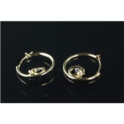 10kt Gold CZ 'Dolphin' Hoop Earrings Retail $350