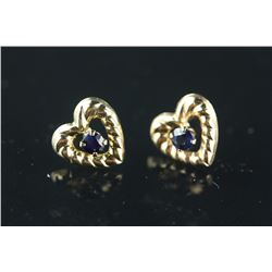 10kt Gold Sapphire 'Heart' Earrings Retail $160