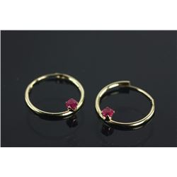 14kt Gold Ruby (0.18ct) Hoop Earrings Retail $200
