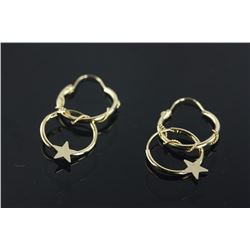 14kt Gold Hoop Earrings (2 Pairs) Retail $240