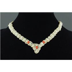 Chinese White Pearl w/ Coral Necklace