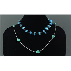2Pc Tibet Turquoise & Silver Chain Necklace