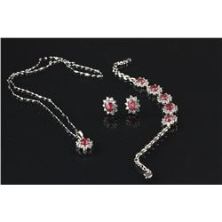 4 Pc of Chinese Red Ruby Silver Jewellery Set
