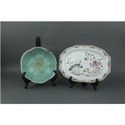 2 Pc Chinese Famille Rose Porcelain Bowl & Plate