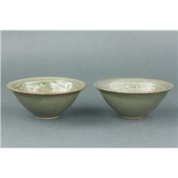 Pair Chinese Song Style Carved Porcelain Bowls