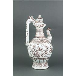 Copper Red Chicken Head Porcelain Ewer Hongwu MK