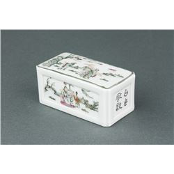 Chinese Famille Rose Porcelain Square Paper Weight