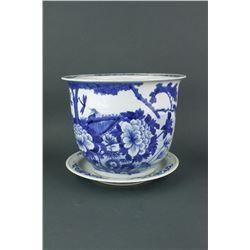 Porcelain BW Porcelain Planter w/Hole & Saucer