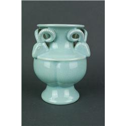 Chinese Jun Yao Style Porcelain Vase w/Ram Handed