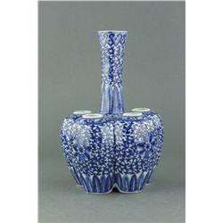 Chinese 6 Opening Blue & White Porcelain Vase