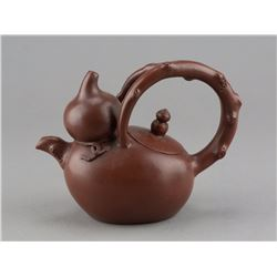 Fine Chinese Zisha Gourd Form Teapot Stamped