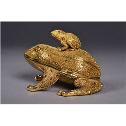 Chinese Gold Jeweled Gold Coloured Frog Box