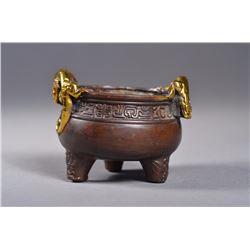 Chinese Bronze Tripod Gilt Gold Censor Ming