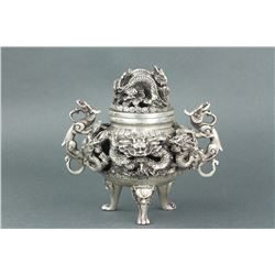 Chinese Silver Dragon Censer Xuande MK