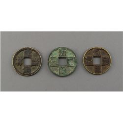 Three Pieces of Chinese Bronze Coins
