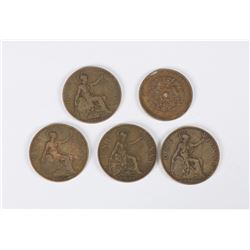 5 Pieces of Chinese & UK Bronze Coins