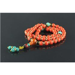 Chinese Fine Red Coral & Varieties Necklace