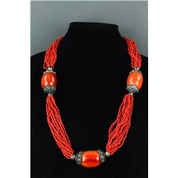 Chinese Large Agate with Coral Necklace