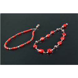 2 Pc Chinese Fine Red Coral w/Silver 925 Necklaces
