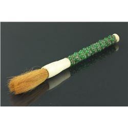 Chinese Brush with Hardstone & Bone Handle
