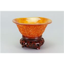 Chinese Horn Carved Libation Cup w/ Stand
